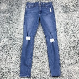 7 for all Mankind High Rise Distressed Skinny 27